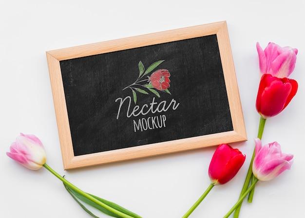 Bovenaanzicht mooie bloemen arrangement