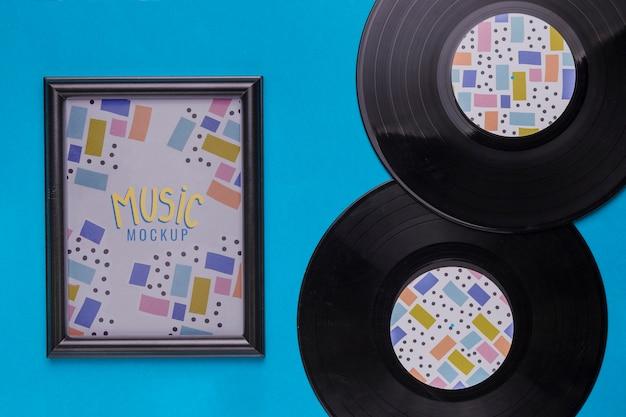 Bovenaanzicht muziek concept met schijf