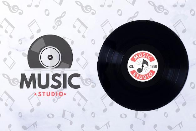 Bovenaanzicht muziek vinyl