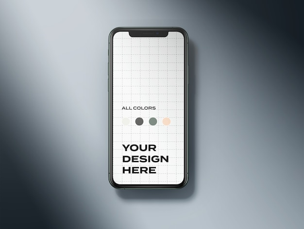 Bovenaanzicht nieuwe mobiele telefoon mockup