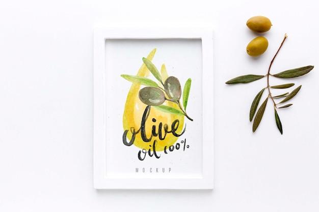 Bovenaanzicht olijfolie frame met mock-up