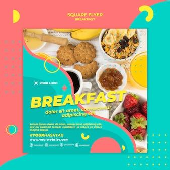 Bovenaanzicht ontbijt vierkante flyer sjabloon
