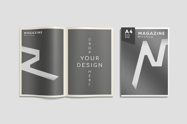 Bovenaanzicht op geopend en omslag a4-tijdschriftmodel