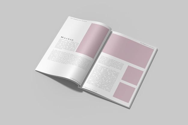 Bovenaanzicht op geopende tijdschriftmodel