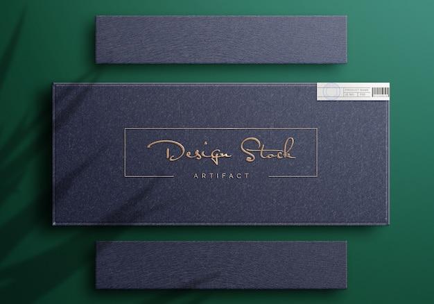Bovenaanzicht op luxe logo mockup op een doos