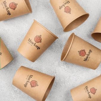 Bovenaanzicht op wegwerpverpakkingsmodel