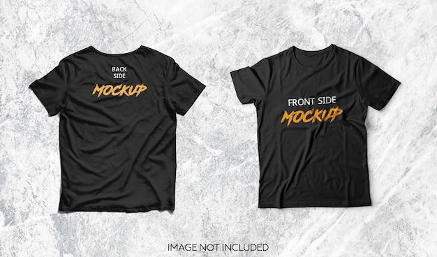 Bovenaanzicht op zwart t-shirtmodel