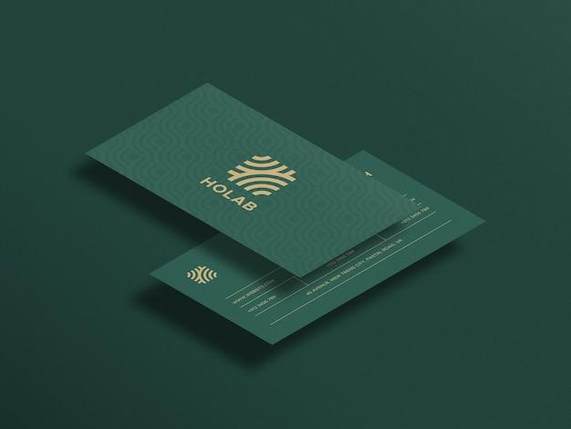 Bovenaanzicht perspectief visitekaartje mockup ontwerp Premium Psd