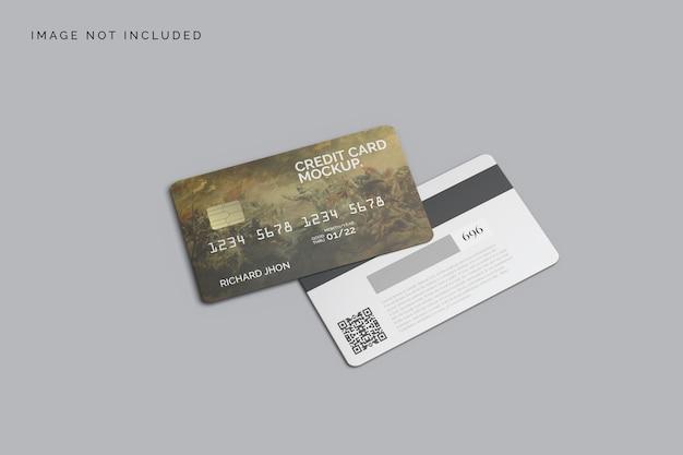 Bovenaanzicht realistische creditcard mockup ontwerp