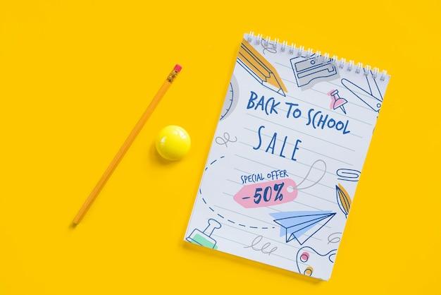 Bovenaanzicht regeling met terug naar school verkoop