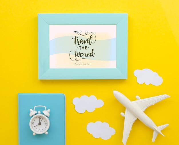 Bovenaanzicht reizen van het wereldvliegtuig