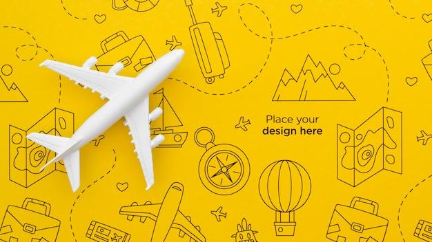 Bovenaanzicht reizende vliegtuig met doodles