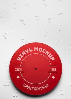 Bovenaanzicht rood vinyl mockup