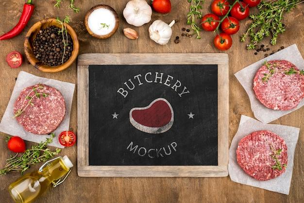 Bovenaanzicht slagerij met hamburgers vlees