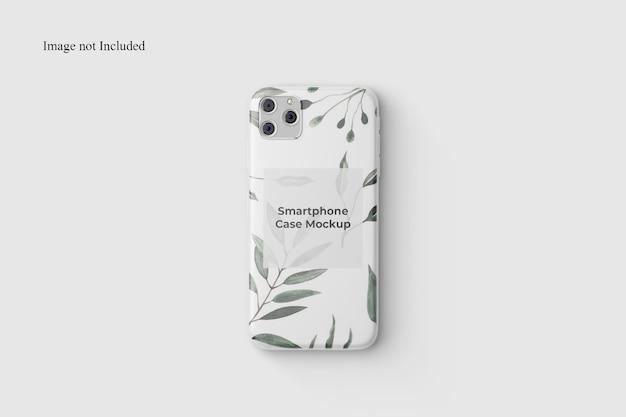 Bovenaanzicht smartphone case mockup design geïsoleerd