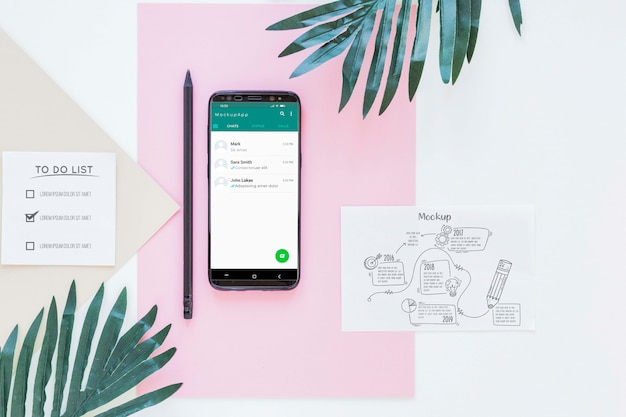 Bovenaanzicht smartphone met mock-up concept