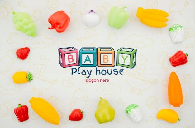 Bovenaanzicht speelgoed set voor kinderen