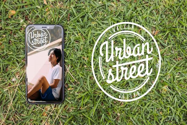 Bovenaanzicht stedelijke straat mock-up