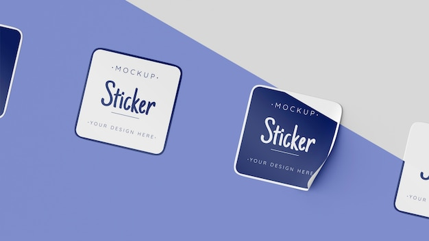 Bovenaanzicht stickercollectie mock-up