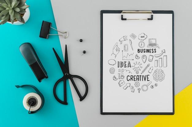 Bovenaanzicht tekenen met mock-up concept