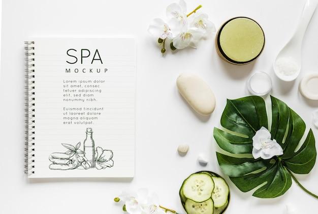 Bovenaanzicht therapeutisch spa-concept met mock-up