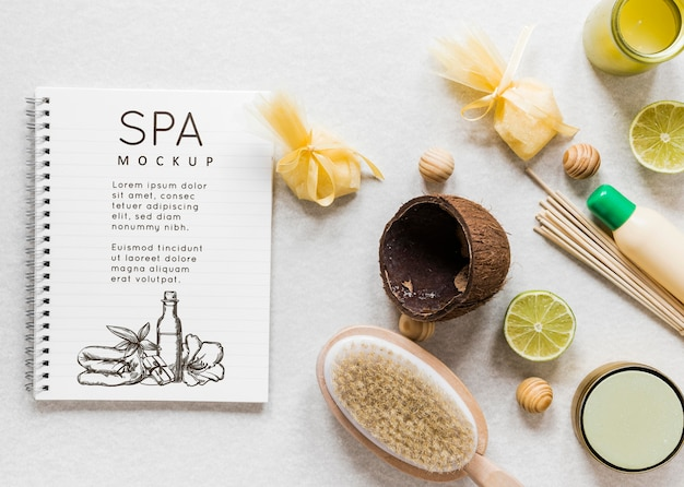 Bovenaanzicht therapeutisch spa-concept met mock-up
