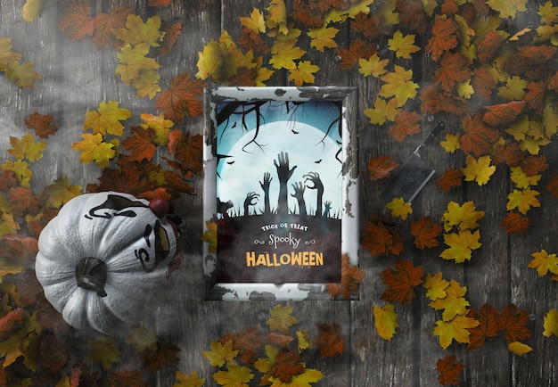 Bovenaanzicht trick or treat griezelig halloween-frame met gedroogde bladeren