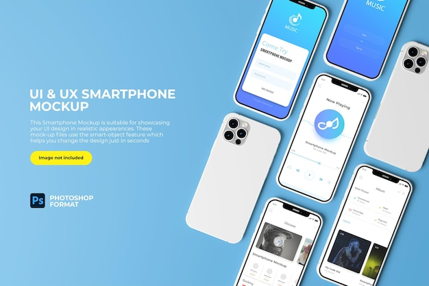 Bovenaanzicht ui en ux smartphone mockup design geïsoleerd