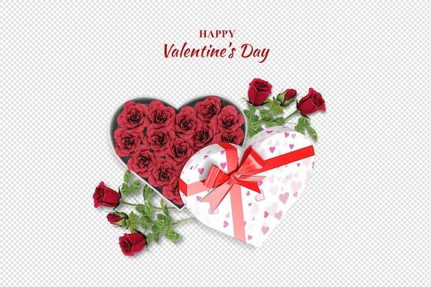 Bovenaanzicht valentijnsdag geschenk en rozen geïsoleerd