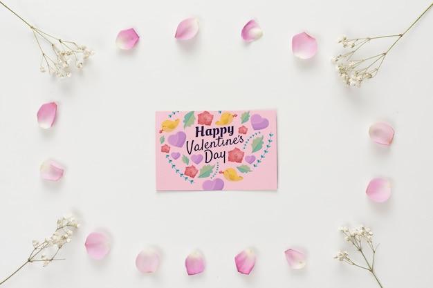 Bovenaanzicht valentijnsdag kaartmodel