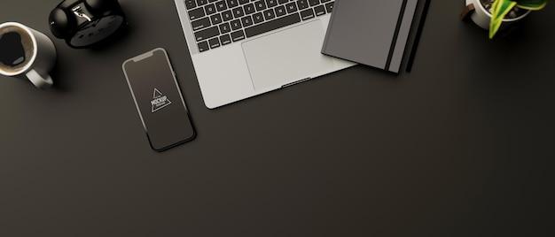 Bovenaanzicht van 3d-rendering werkruimte met smartphonemodel