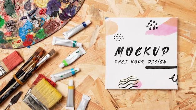 Bovenaanzicht van artistiek concept mock-up