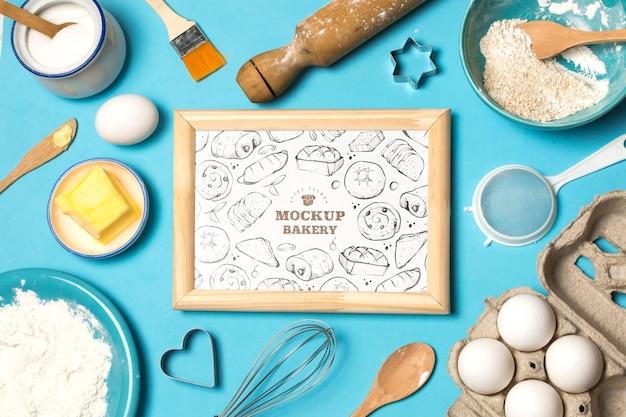 Bovenaanzicht van bakkerij concept mock-up