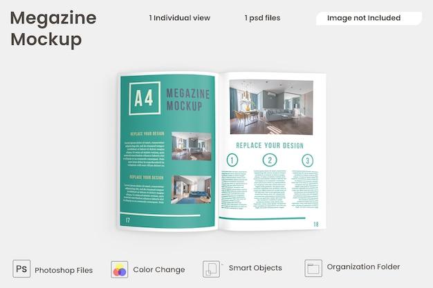 Bovenaanzicht van brochure- en catalogusmodellen premium psd