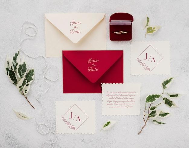 Bovenaanzicht van bruiloft concept mock-up
