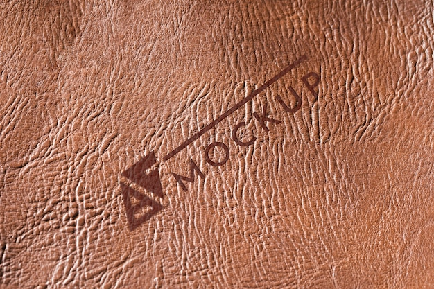 Bovenaanzicht van bruin lederen oppervlak mock-up