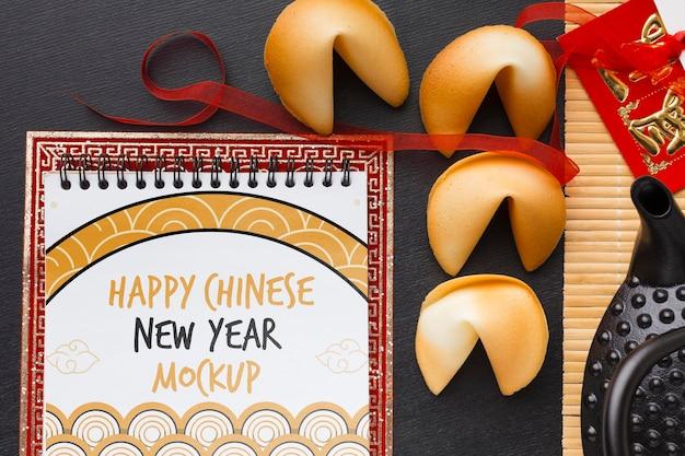 Bovenaanzicht van chinees nieuwjaar mock-up