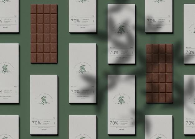 Bovenaanzicht van chocolade mockup