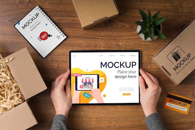Bovenaanzicht van cyber maandag concept mock-up