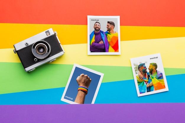 Bovenaanzicht van de camera met foto's voor trots