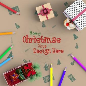 Bovenaanzicht van decoratieve items van kerstmodel