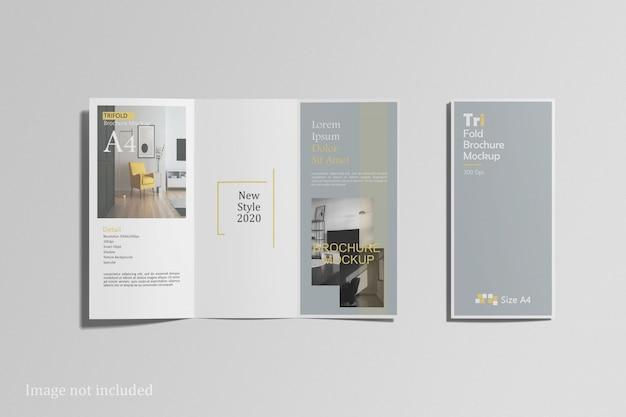 Bovenaanzicht van driebladige brochure mockup