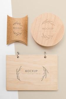 Bovenaanzicht van eco-vriendelijke verpakking mock-up