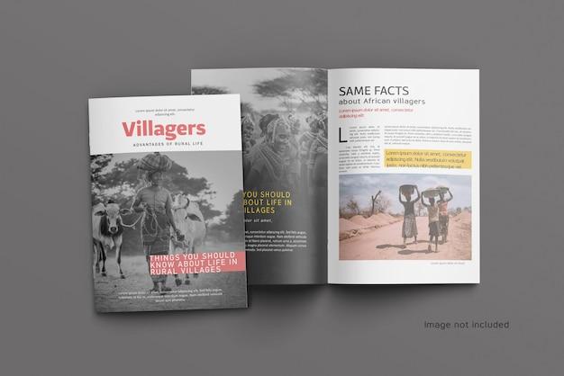 Bovenaanzicht van een open tijdschrift- of catalogusomslagmodel