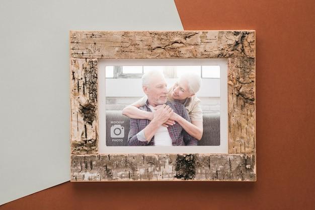 Bovenaanzicht van eenvoudige houten frame