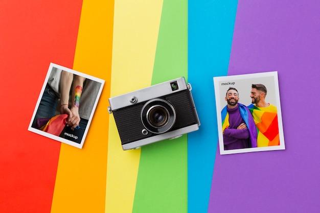Bovenaanzicht van foto's met camera voor trots