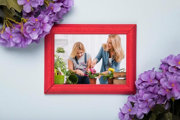 Bovenaanzicht van frame met lente phlox