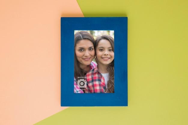 Bovenaanzicht van frame voor foto's