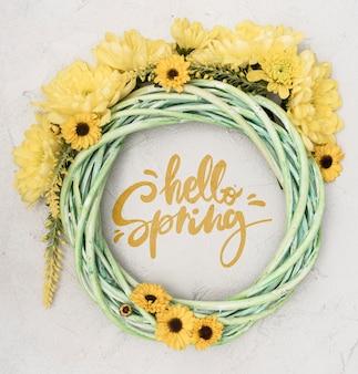 Bovenaanzicht van gele lente gerbera