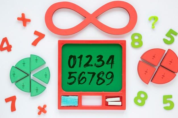 Bovenaanzicht van getallen met vormen en oneindigheid